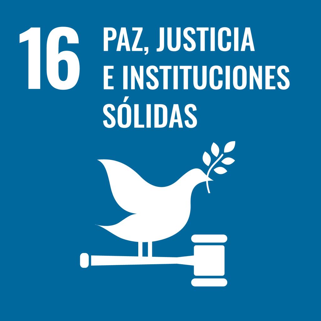Icono del Objetivo de Desarrollo Sostenible Paz justicia e instituciones sólidas